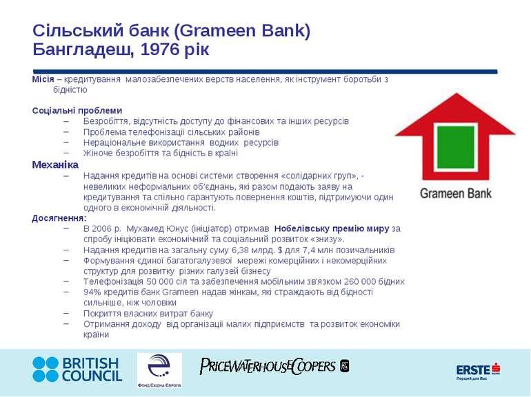 Сільський банк (Grameen Bank) Бангладеш, 1976 рік Місія – кредитування малоза...