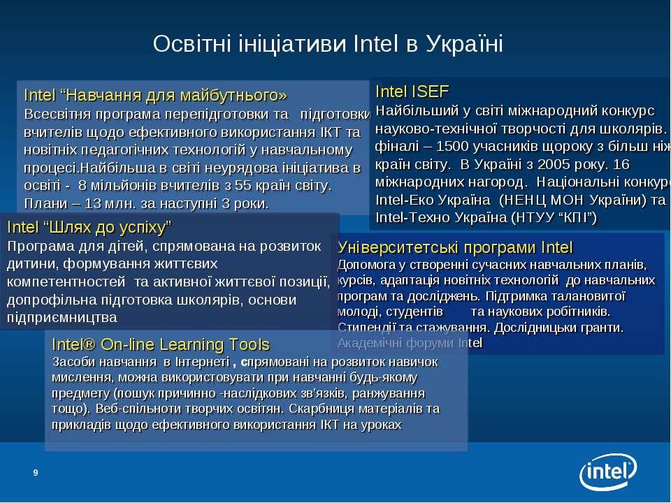 * Освітні ініціативи Intel в Україні Університетські програми Intel Допомога ...