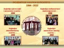 РОЗВИТОК НАУКИ В ПОІППО 1994 - 2012 Кафедра менеджменту освіти – 1999 Кафедра...