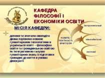 КАФЕДРА ФІЛОСОФІЇ І ЕКОНОМІКИ ОСВІТИ МІСІЯ КАФЕДРИ: допомогти вчителю оволоді...