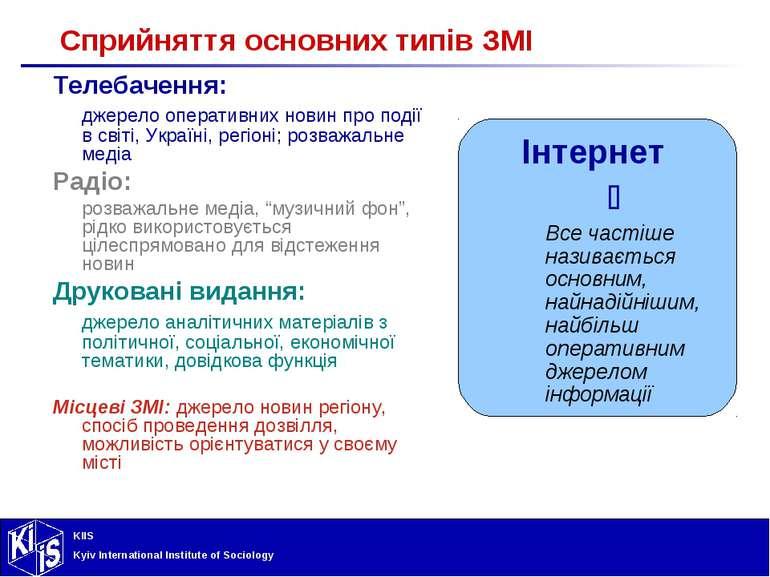 Сприйняття основних типів ЗМІ Телебачення: джерело оперативних новин про поді...