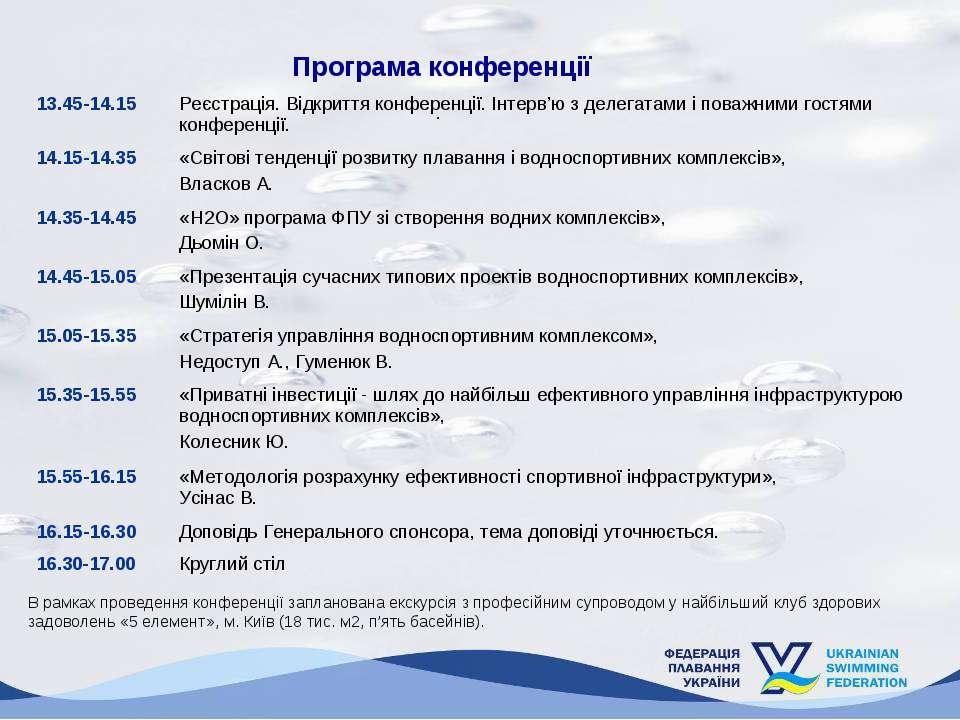 Програма конференції В рамках проведення конференції запланована екскурсія з ...
