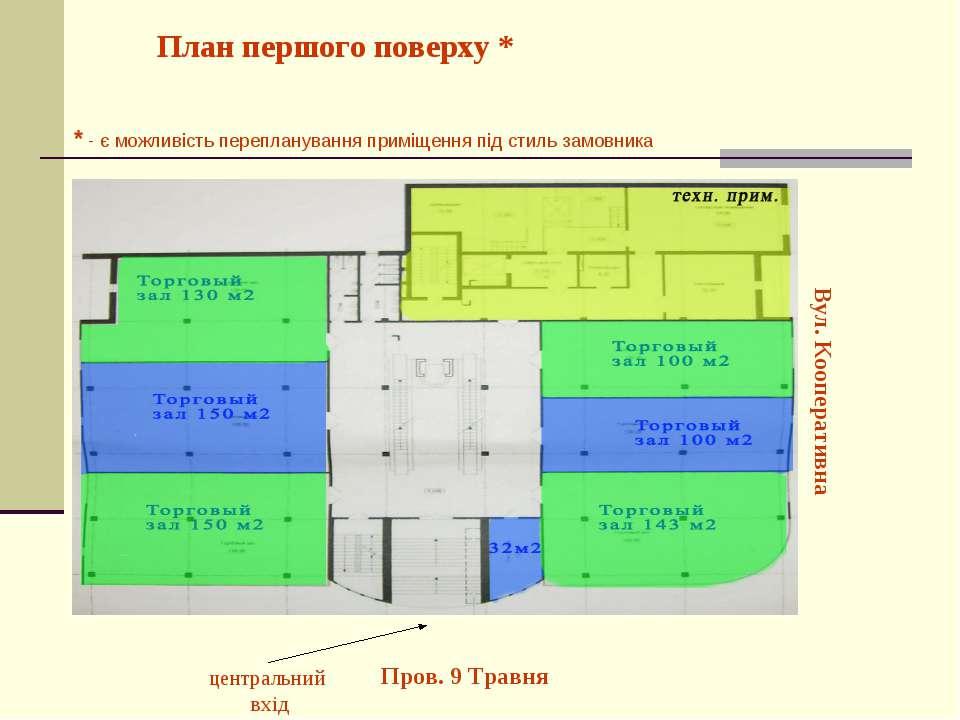 План першого поверху * Вул. Кооперативна центральний вхід Пров. 9 Травня * - ...