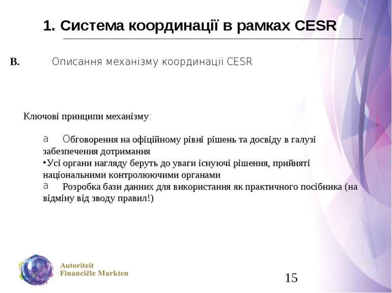 1. Система координації в рамках CESR В. Описання механізму координації CESR К...