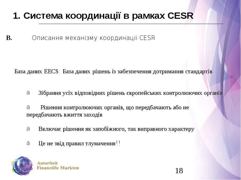 1. Система координації в рамках CESR В. Описання механізму координації CESR Б...