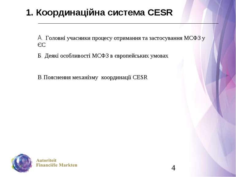 1. Координаційна система СESR A. Головні учасники процесу отримання та застос...