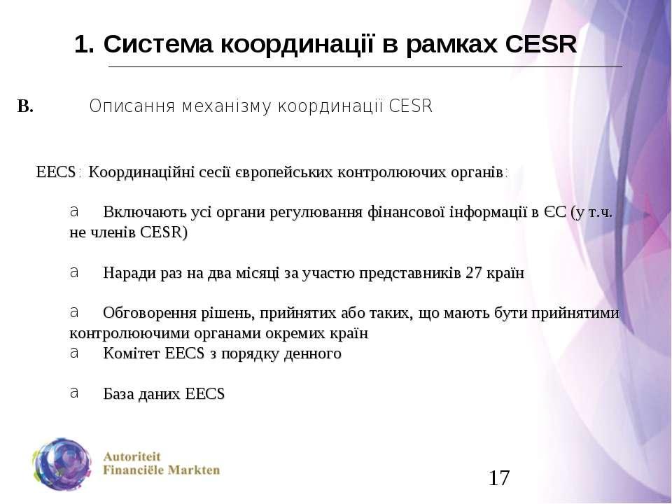 1. Система координації в рамках CESR В. Описання механізму координації CESR E...