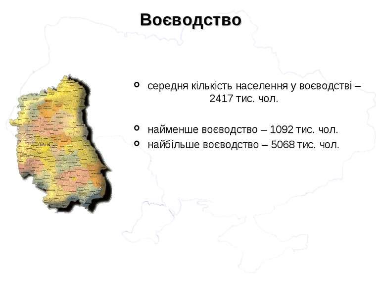 середня кількість населення у воєводстві – 2417 тис. чол. найменше воєводство...