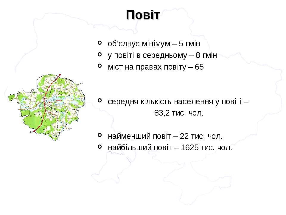 об'єднує мінімум – 5 гмін у повіті в середньому – 8 гмін міст на правах повіт...