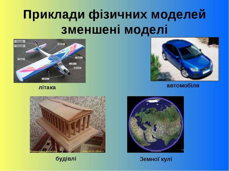 Приклади фізичних моделей зменшені моделі літака автомобіля будівлі Земної кулі