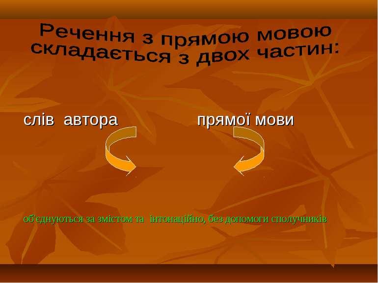 слів автора прямої мови об'єднуються за змістом та інтонаційно, без допомоги ...