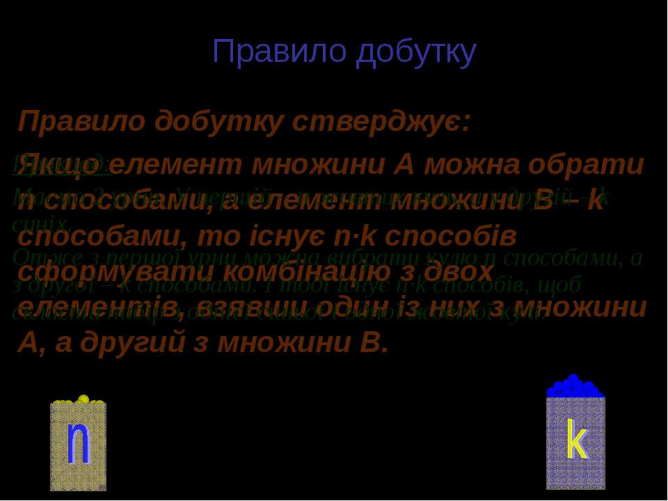 Правило добутку Правило добутку стверджує: Якщо елемент множини А можна обрат...