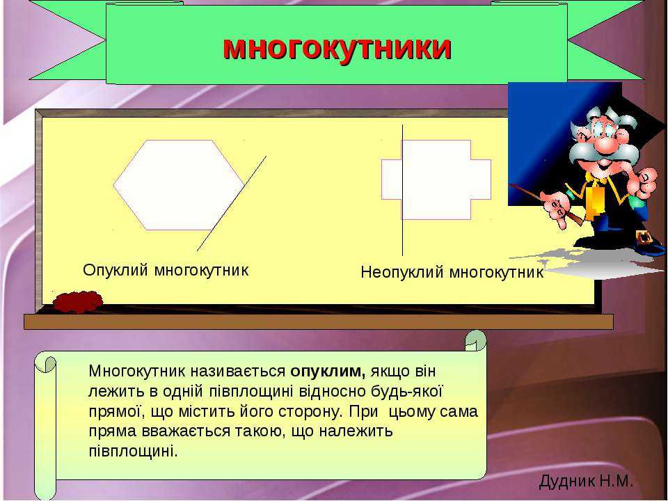 многокутники Многокутник називається опуклим, якщо він лежить в одній півплощ...