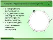 Алгоритм побудови правильного шестикутника 1) Побудувати коло довільного раді...