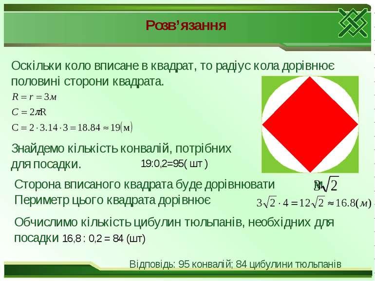 Розв'язання Оскільки коло вписане в квадрат, то радіус кола дорівнює половині...