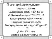 Планетарні характеристики Радіус = 1 738 км Велика піввісь орбіти = 384 400 к...