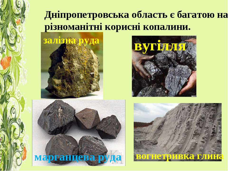 Дніпропетровська область є багатою на різноманітні корисні копалини. залізна ...
