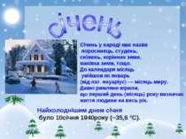 Січень у народі має назви поросинець, студень, сніжень, корінник зими, маківк...