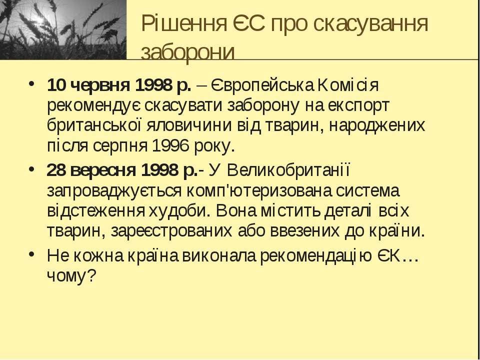 Рішення ЄС про скасування заборони 10 червня 1998 р. – Європейська Комісія ре...