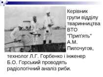 """Керівник групи відділу тваринництва ВТО """"Прип'ять"""" А.М. Пилочугов, технолог Л..."""