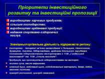 Пріоритети інвестиційного розвитку та інвестиційні пропозиції виробництво хар...