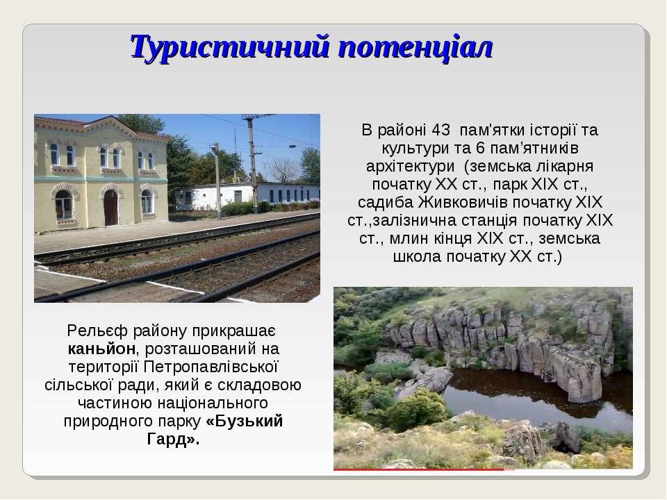 Туристичний потенціал В районі 43 пам'ятки історії та культури та 6 пам'ятник...