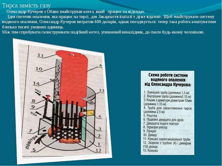 Тирса замість газу Олександр Кучеров з Обави змайстрував котел, який працює н...