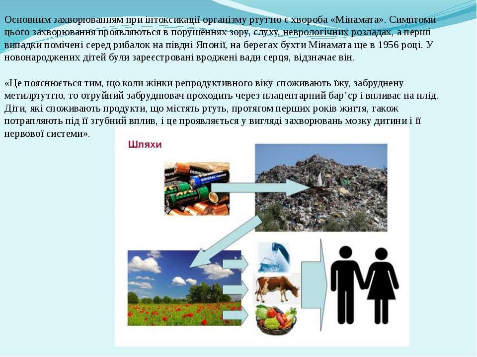 Основним захворюванням при інтоксикації організму ртуттю є хвороба «Мінамата»...