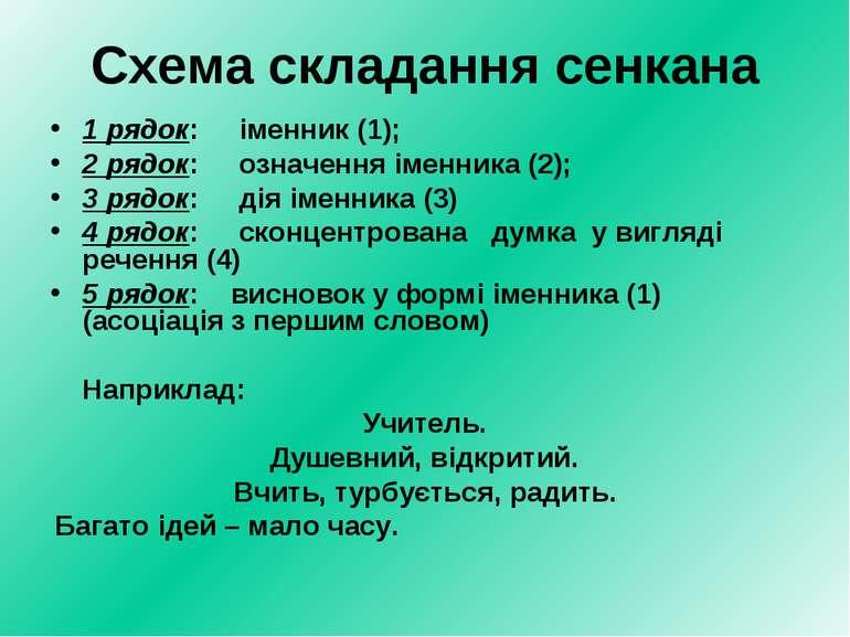 Схема складання сенкана 1 рядок: іменник (1); 2 рядок: означення іменника (2)...