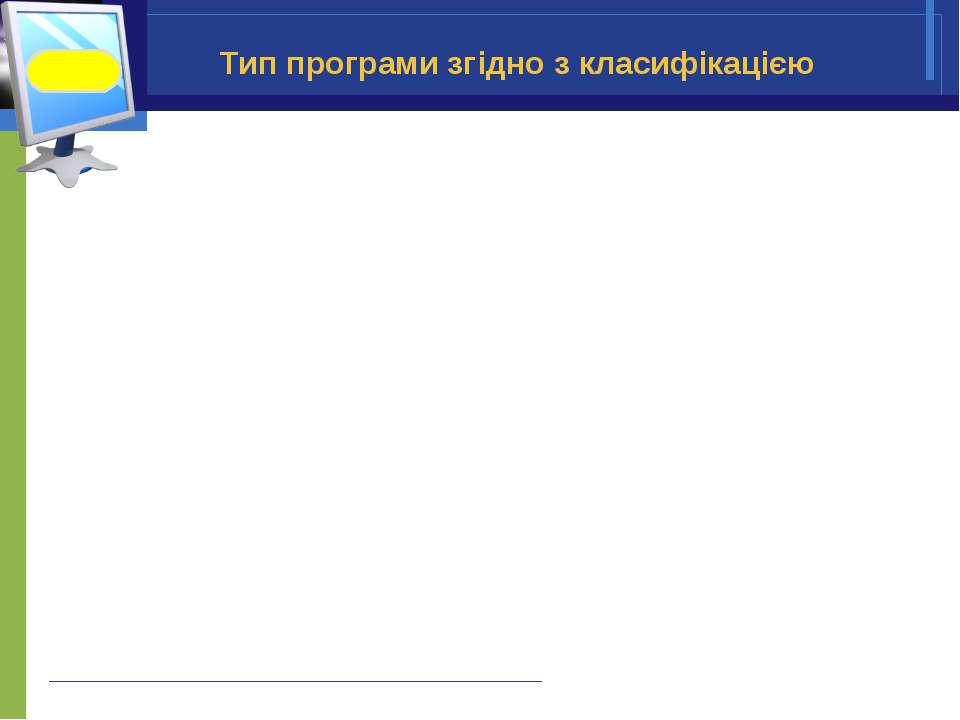 Тип програми згідно з класифікацією Інформатика 9