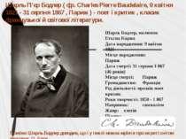 Шарль Бодлер, малюнок Етьєна Каржа Дата народження: 9 квітня 1821 Місце народ...