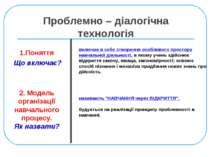 Проблемно – діалогічна технологія 1.Поняття Що включає? 2. Модель організації...