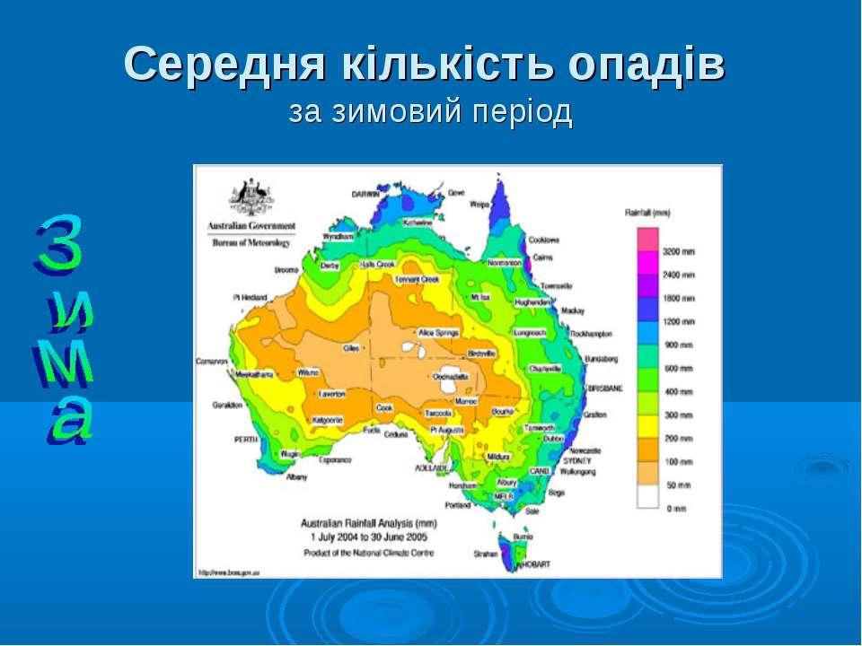 Середня кількість опадів за зимовий період