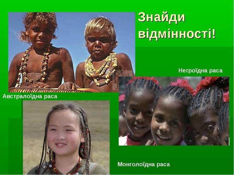 Знайди відмінності! Монголоїдна раса Австралоїдна раса Негроїдна раса