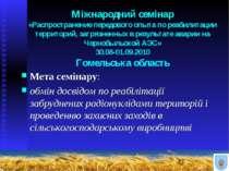 Міжнародний семінар «Распространение передового опыта по реабилитации террито...