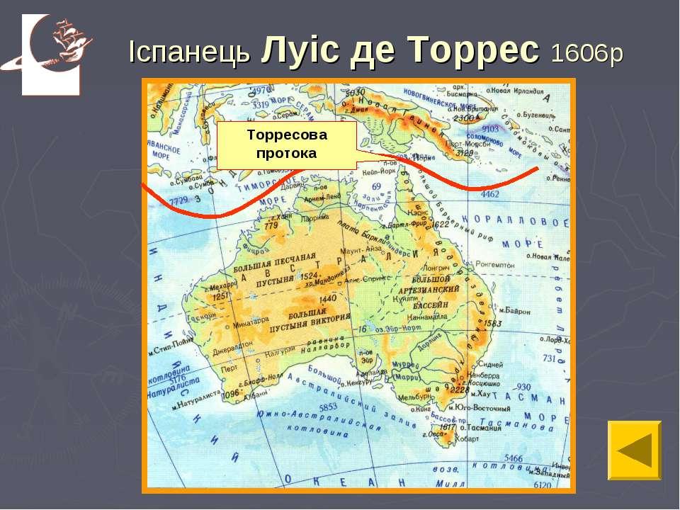 Іспанець Луіс де Торрес 1606р Торресова протока