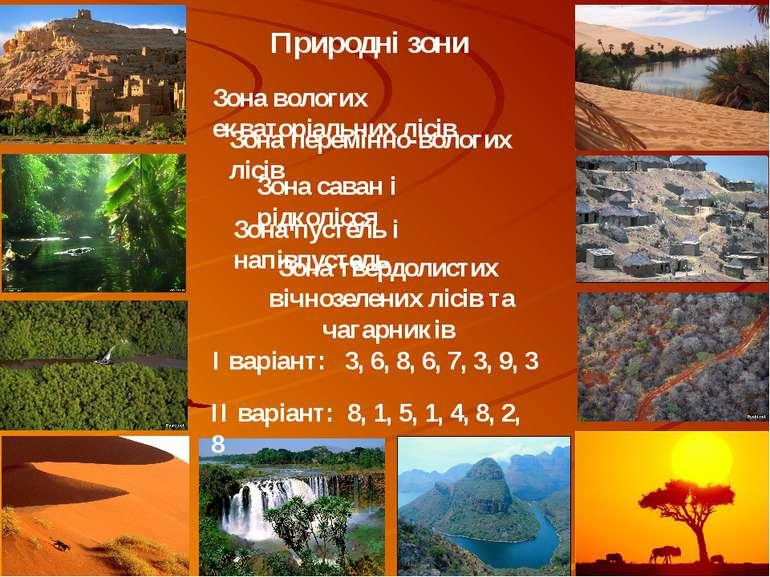 Природні зони Зона вологих екваторіальних лісів Зона перемінно-вологих лісів ...