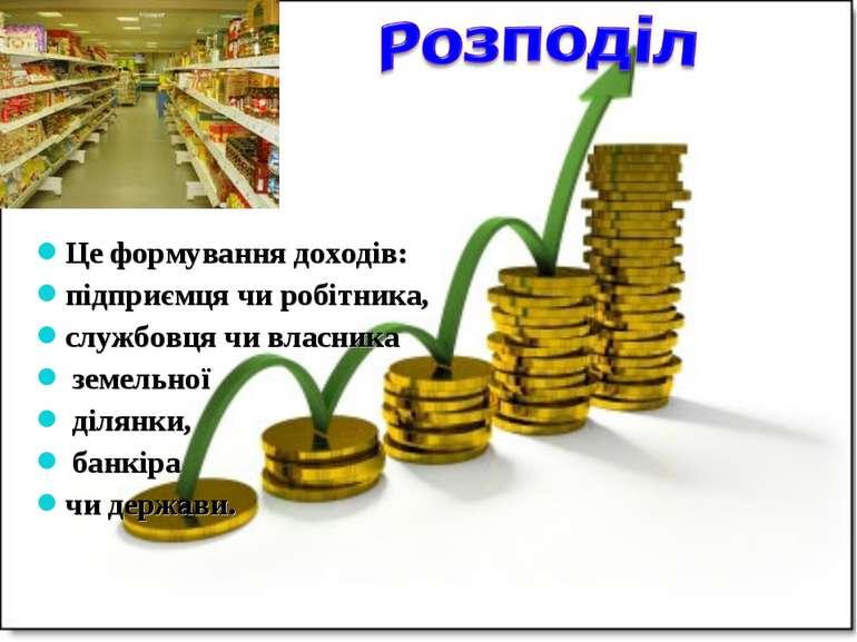 Це формування доходів: підприємця чи робітника, службовця чи власника земельн...