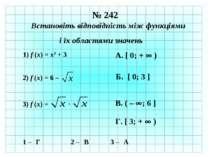 № 242 Встановіть відповідність між функціями і їх областями значень 1) f (x) ...