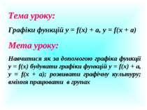 Тема уроку: Графіки функцій у = f(x) + а, у = f(x + а) Мета уроку: Навчитися ...
