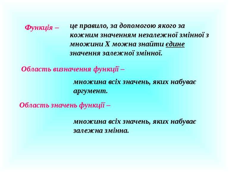 Функція – це правило, за допомогою якого за кожним значенням незалежної змінн...