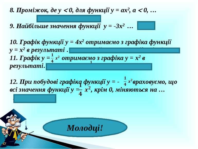 8. Проміжок, де у 0, для функції у = ах2, а 0, … ( - ∞; 0 ) і ( 0; + ∞ ) 9. Н...