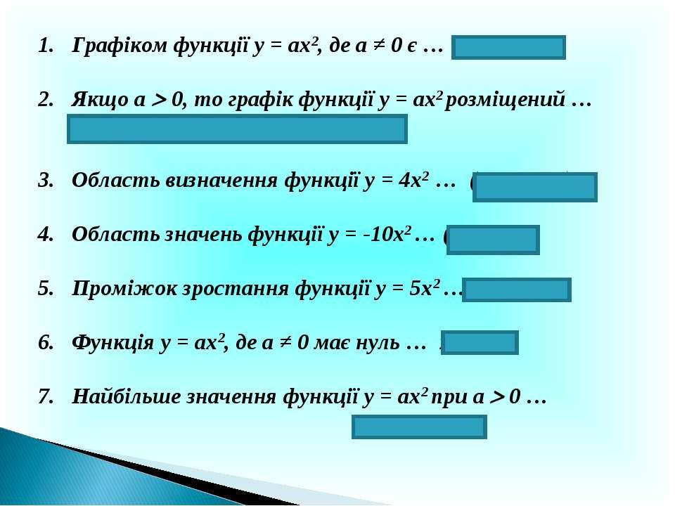 Графіком функції у = ах2, де а ≠ 0 є … парабола Якщо а 0, то графік функції у...