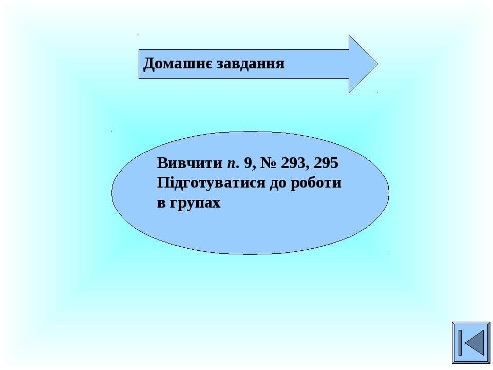 Домашнє завдання Вивчити п. 9, № 293, 295 Підготуватися до роботи в групах