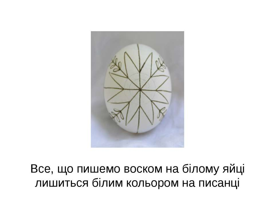 Все, що пишемо воском на білому яйці лишиться білим кольором на писанці