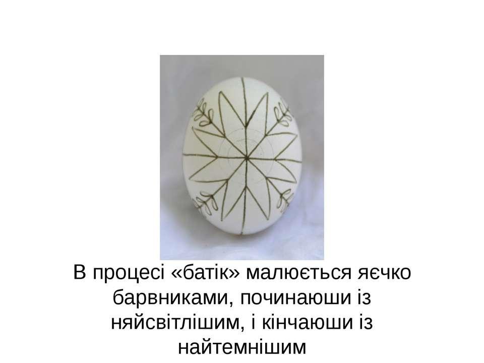В процесі «батік» малюється яєчко барвниками, починаюши із няйсвітлішим, і кі...