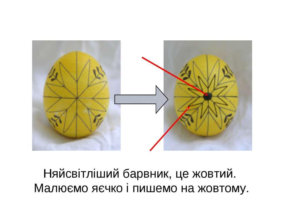 Няйсвітліший барвник, це жовтий. Малюємо яєчко і пишемо на жовтому.