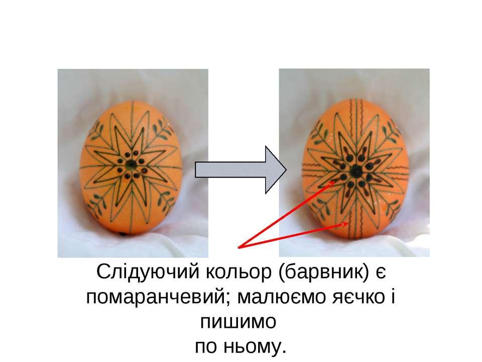 Слідуючий кольор (барвник) є помаранчевий; малюємо яєчко і пишимо по ньому.