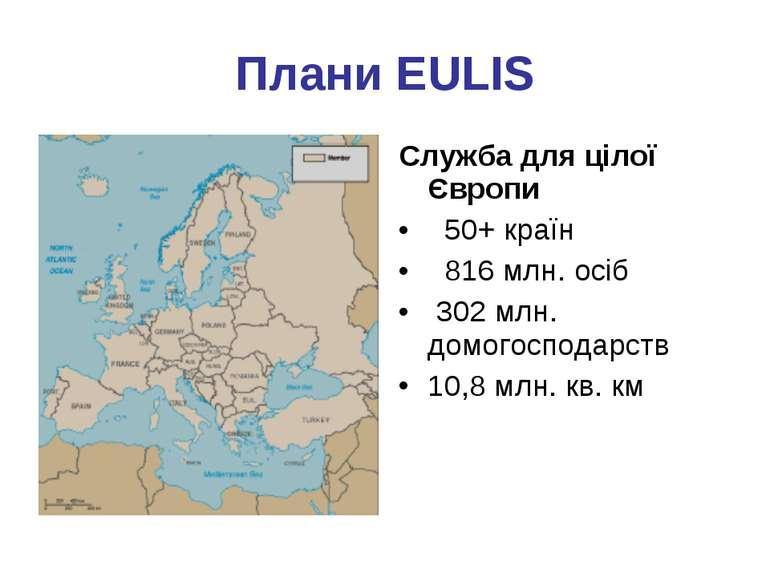 Плани EULIS Служба для цілої Європи 50+ країн 816 млн. осіб 302 млн. домогосп...