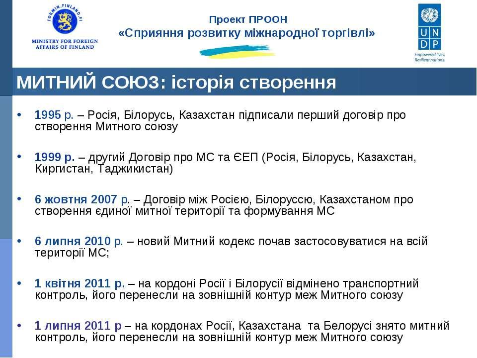 1995 р. – Росія, Білорусь, Казахстан підписали перший договір про створення М...